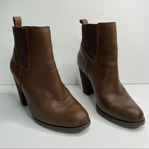 Lucky Brand brown leather heeled booties 8.5